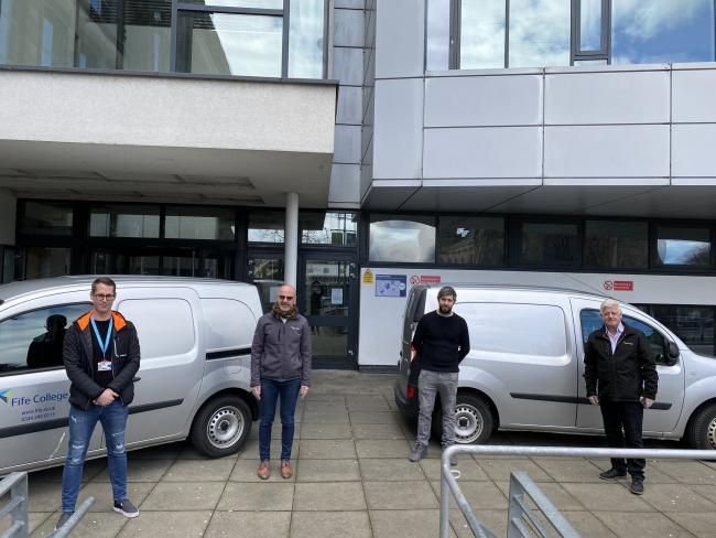 Kris Getchell, Bryan McCabe-Bell, Stuart McKay and Hugh Hall of Fife College outside the college's Kirkcaldy Campus as they prepare to deliver devices the homes of students