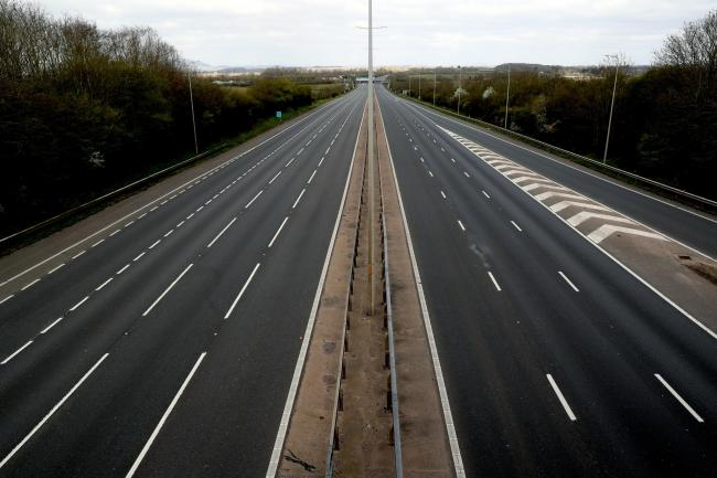 Empty motorways amid the nationwide lockdown