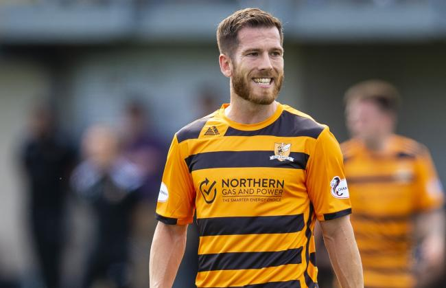 Liam Buchanan, in action for Alloa Athletic, bagged a hat-trick for his side against Stenhousemuir at the weekend. Pic by SNS Group