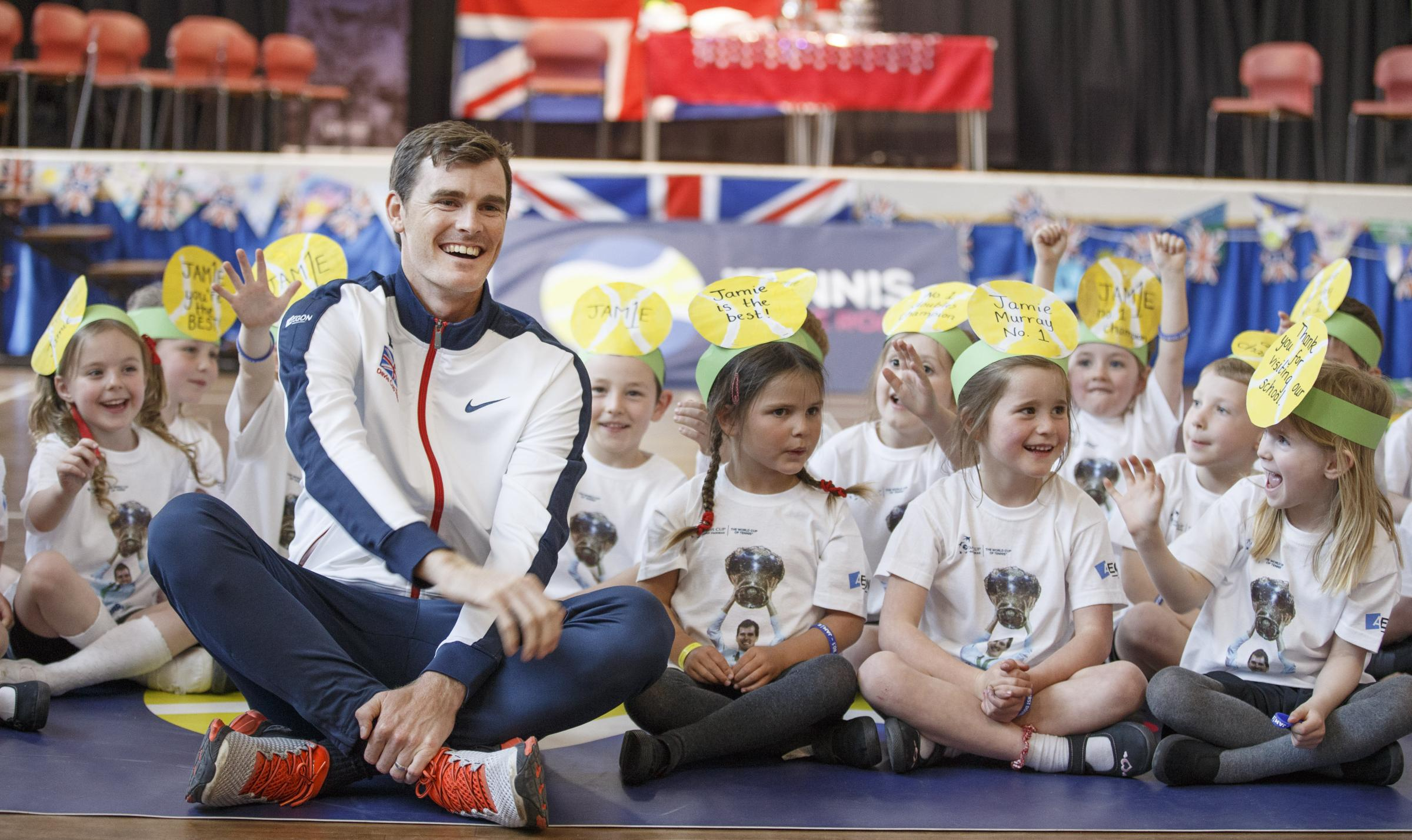 Jamie Murray visits Dunblane Sports Centre with the Davis Cup trophy