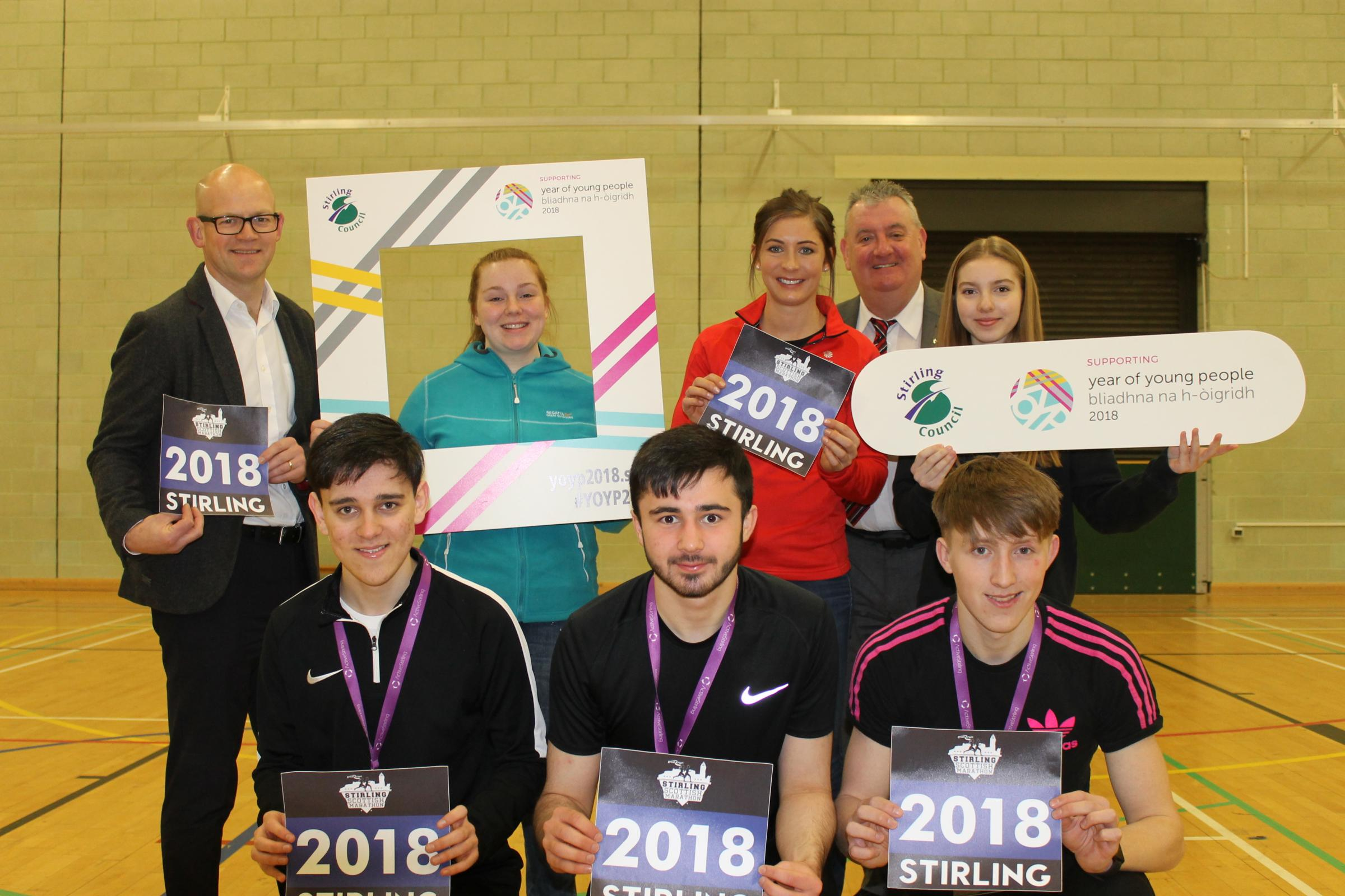 Back row: Chief executive Andrew Bain with young ambassadors Shannon Goundry, Eve Muirhead and Cameryn Dick as well as Councillor Scott FarmerFront row: Kristoffer Hunter, Martin Sandà and Daniel Addison – all Active Stirling volunteers