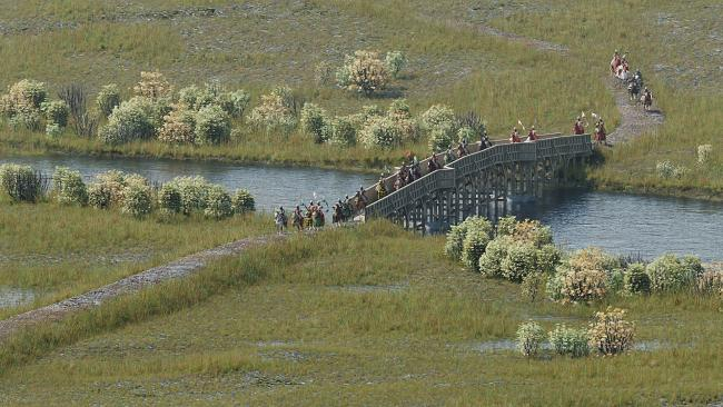 A reconstruction of the bridge used in the Battle of Stirling Bridge in 1297
