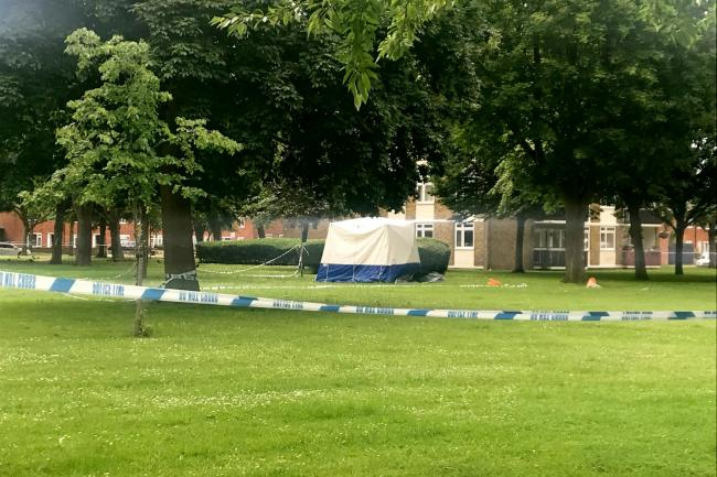 The forensic tent in Deeside Road, Wandsworth
